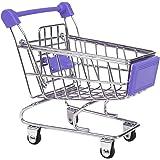 【ノーブランド品】 ミニショッピングカート トロリーおもちゃ 全9色選べる - パープル