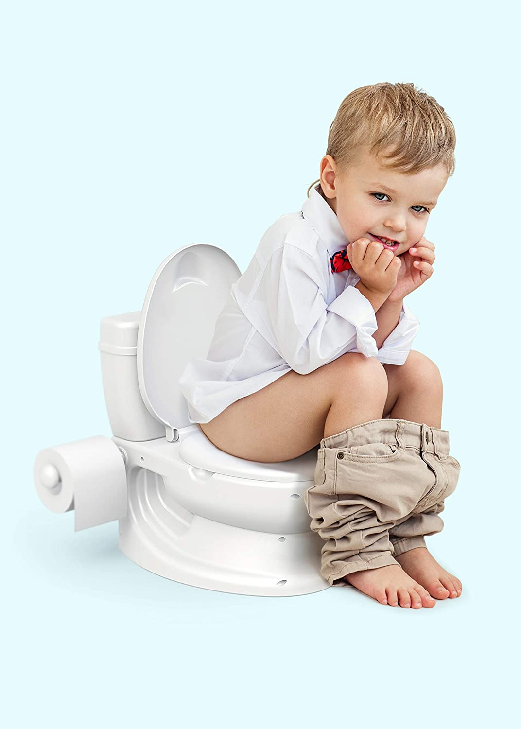 Training Potty My Potty My First Potty learning toilet for Toddlers and children girls or boys age 1+ with flushing sound closable lid splash protection for boys easy to remove and clean bowl wipes storage and personal roll paper holder like step 2 to summ