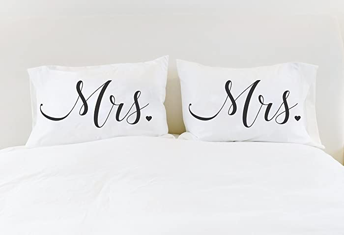 Amazon Lesbian Wedding Gift Mrs Mrs Pillowcases Hers And Hers