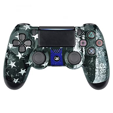 eXtremeRate Custom Patterned Front Housing Shell Faceplate Cover for PS4  Slim PS4 Pro JDM-040 JDM-050 JDM-055 Controller - The Thin Blue Line Flag  of