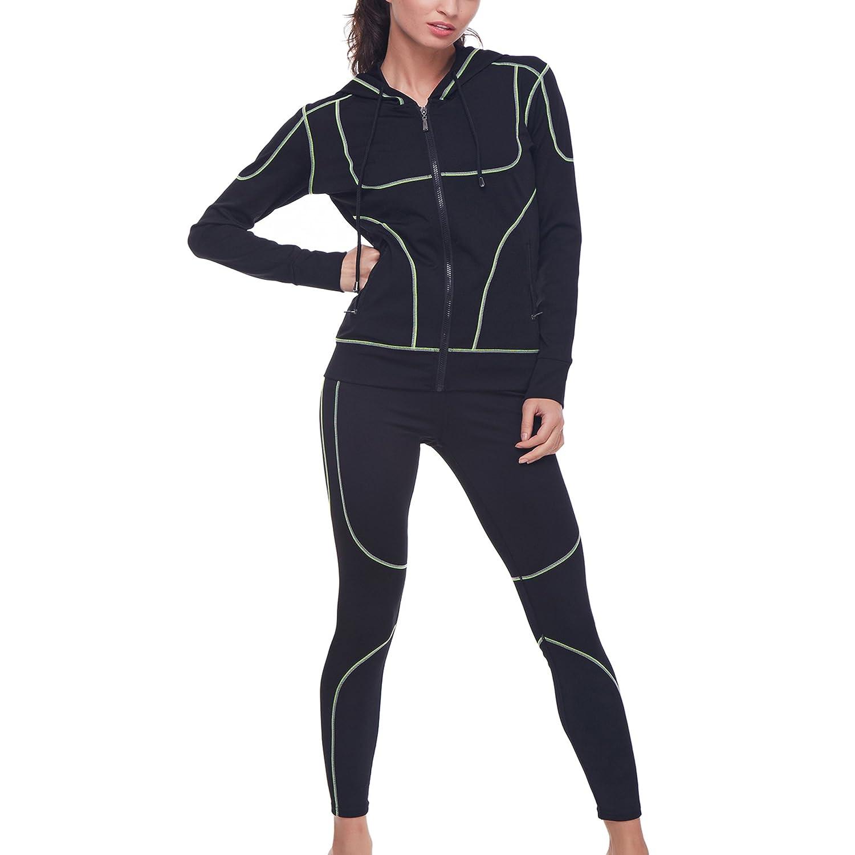 Ladies Tank Vest Zip Hoodie Full Length Leggings 3pc Set Women Outfit Size S//XL