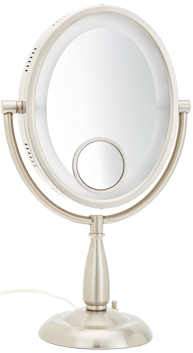 Jerdon HL9510N 8-Inch Two-Sided Oval Halo Lighted Vanity Mirror With 10x  And 15x Magnification And 3-Light Settings, 17.5-Inch Height, Nickel  Finish: