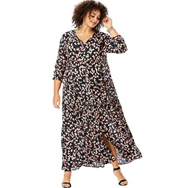 acda27ab748 Roamans Women s Plus Size Tiered Crinkle Maxi Dress with Blouson Sleeves -  Black Multi Painted