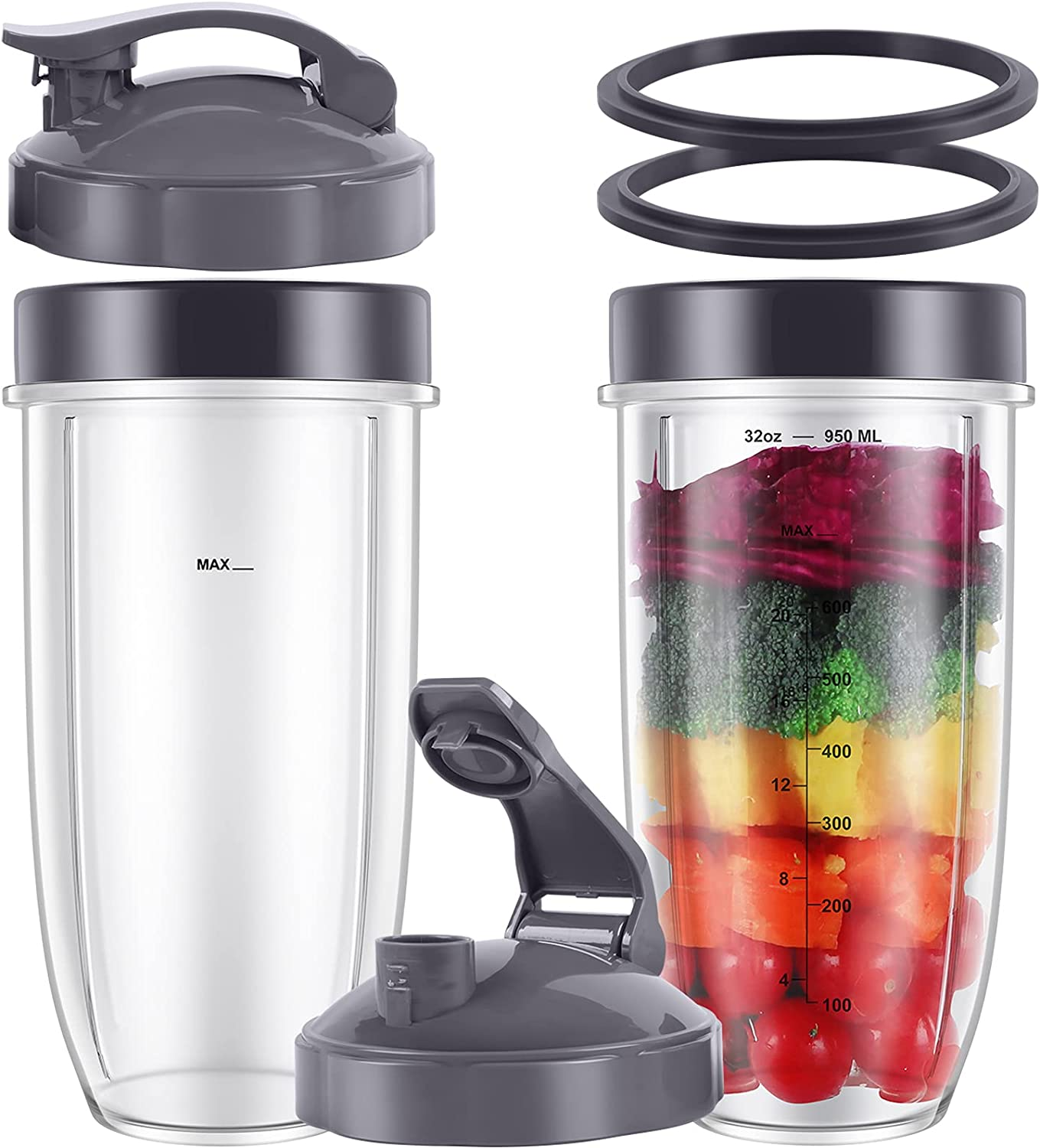 8-piece NutriBullet Blender Cups 32oz Cups with Flip-Top To-Go-Lids and Twist-on Lip Rings and Rubber Gaskets Compatible with NutriBullet 900W 600W Blenders Replacement Parts for NutriBullet
