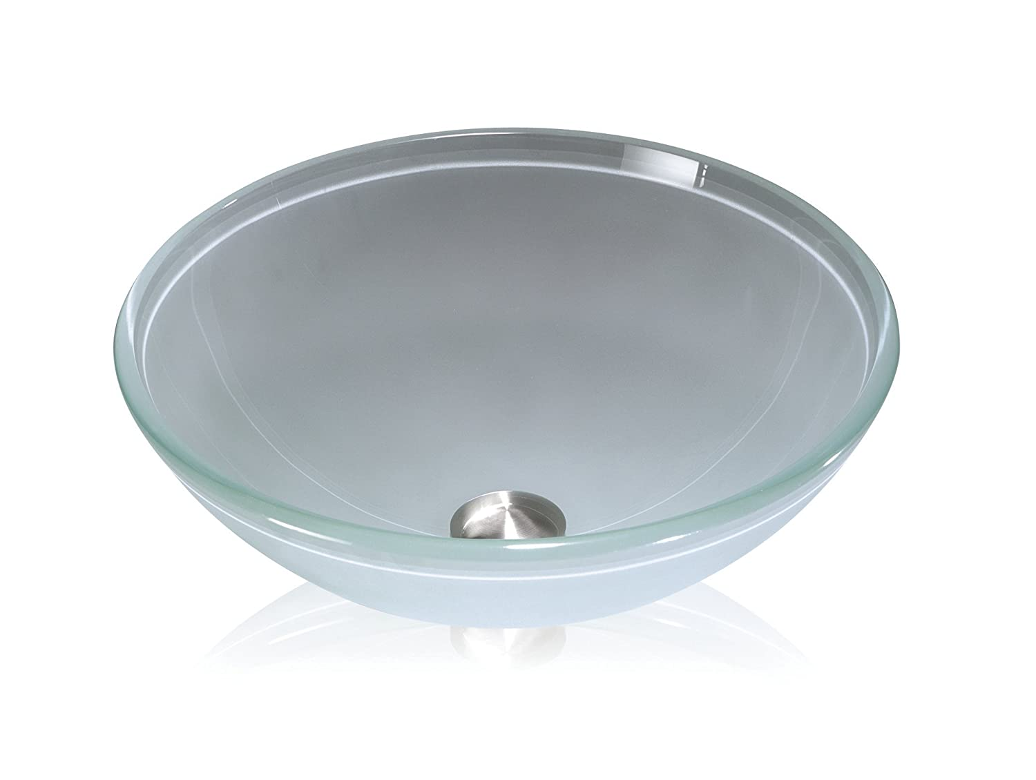 Lenova Gv 11 Round Glass Vessel Sink Clear Frosted Glass Sink