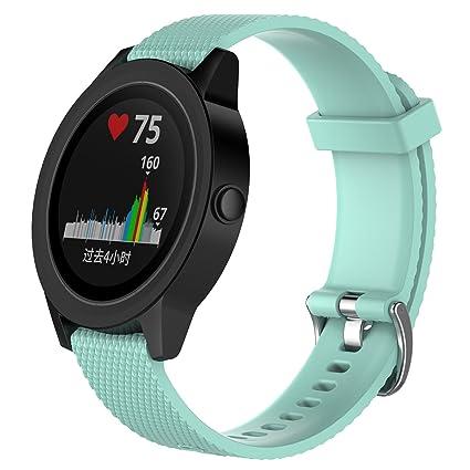 Bandas de repuesto para Garmin Vivoactive 3 / Vivomove / Vivomove HR Fitness Watch 20 mm Correa de silicona suave ajustable Quick Release Accesorio ...