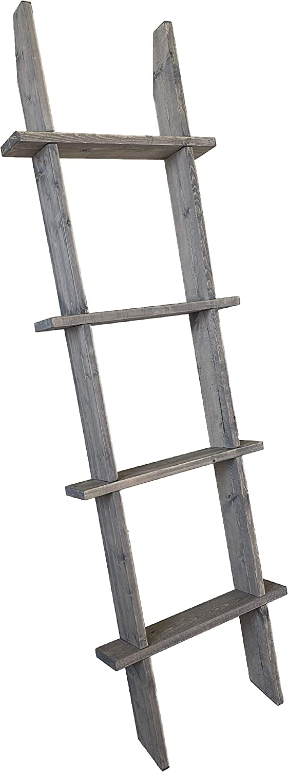 Strix Ind 5ft Rustic Blanket Ladder | Stable Farmhouse Furniture | Made in USA | Towel Ladder for Bathroom | Chic Boho Decor… (Rustic Gray)