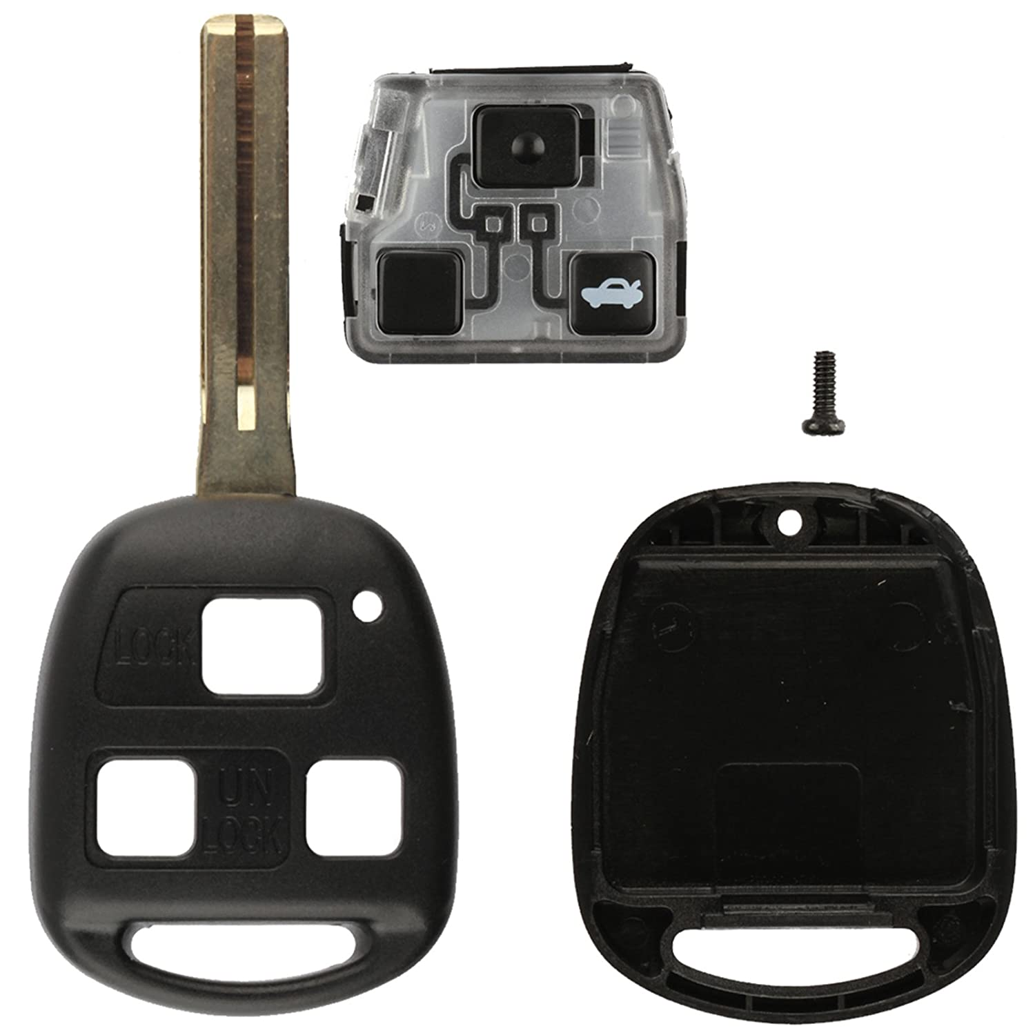 2 Pack Discount Keyless Replacement Uncut Key Shell Case and Trunk Button Pad Gut Compatible with HYQ1512V