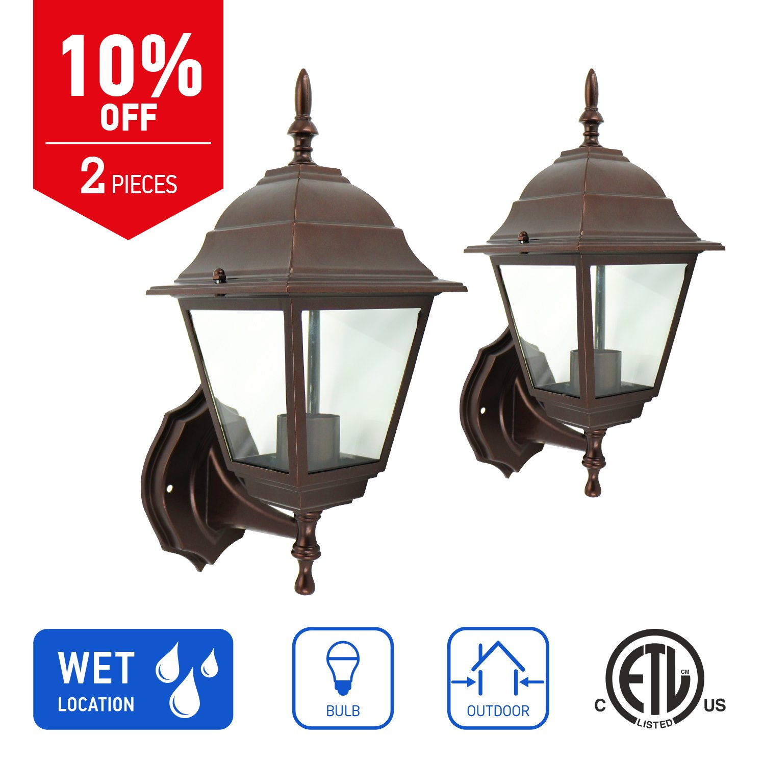 IN HOME 1-Light Outdoor Wall Mount Lantern Upward Fixture L02 Series Traditional Design Bronze Finish, Clear Glass Shade (2 Pack), ETL listed