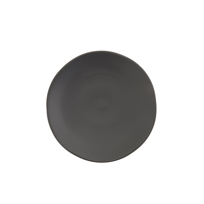 Fortessa Vitraluxe Dinnerware Heirloom Matte Finish Salad Plate 8-inch, Charcoal, Set of 4 STN.8000.6.02