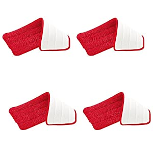 "Rubbermaid - Reveal Mop Microfiber Cleaning Pad, Red, 15"" Wide (4-Pack)"