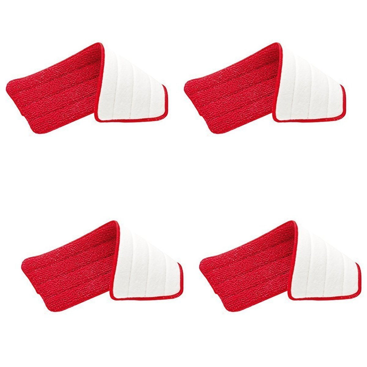 Rubbermaid - Reveal Mop Microfiber Cleaning Pad, Red, 15'' Wide (4-Pack)