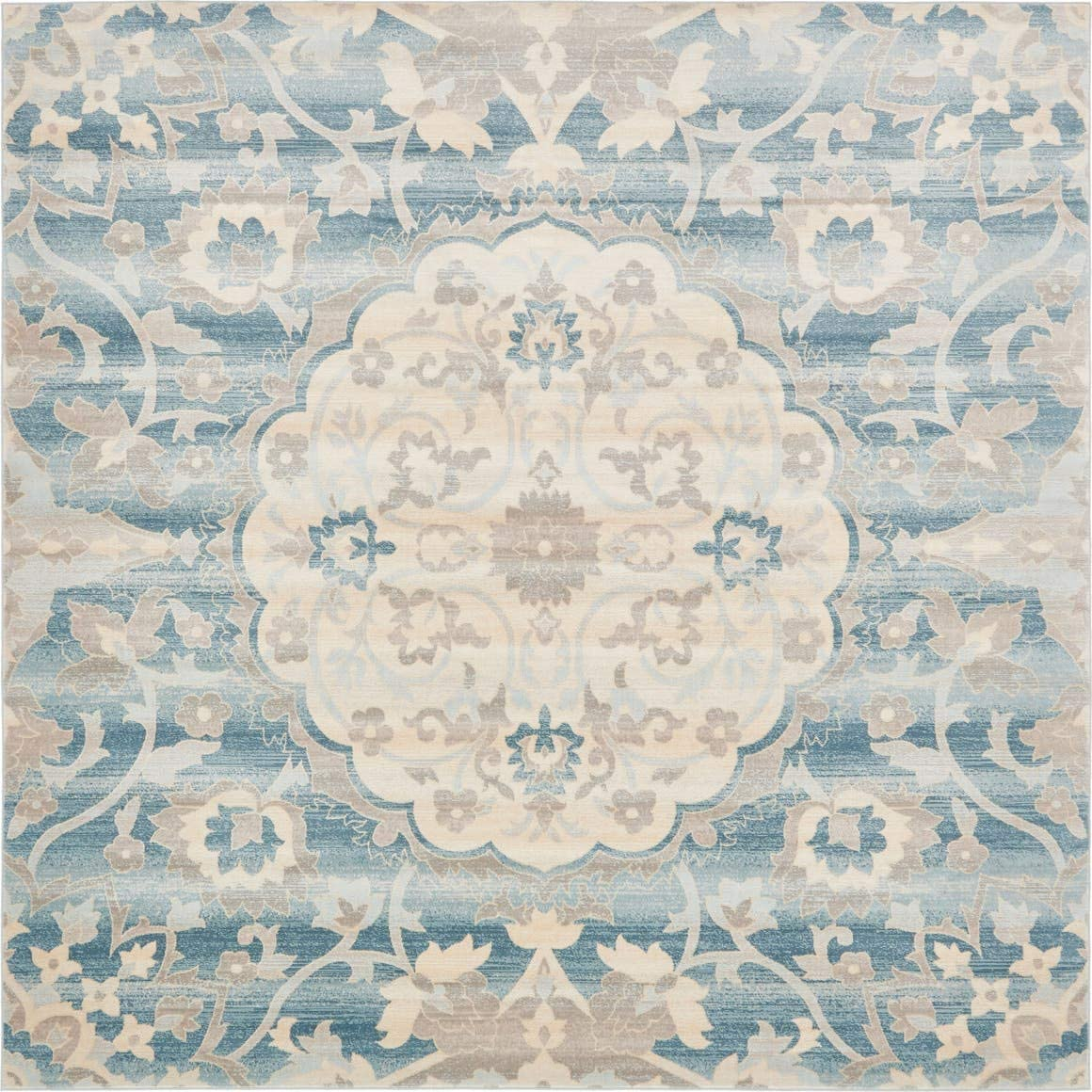 Unique Loom Paris Collection Pastel Tones Traditional Distressed Blue Square Rug 8 0 x 8 0