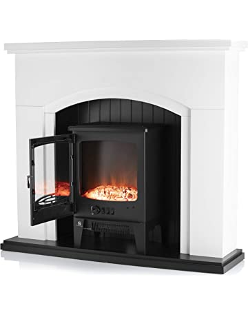 Warmlite WL45043 Cambridge Electric Fireplace suite, Adjustable Thermostat and LED Flame Effect, Traditional Stove Design, Oak