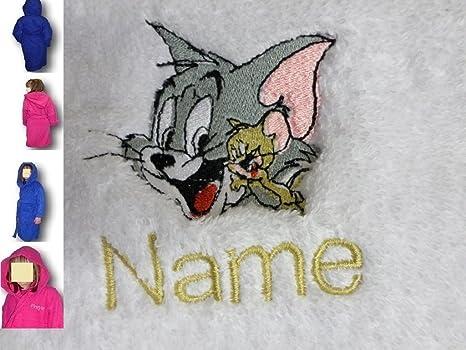 Albornoz infantil con capucha con un Tom & Jerry Logo y nombre de tu elección,