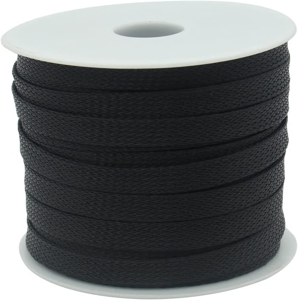 Lime2018 Black, 1 x 30 FT 25.4mm Expandable Cable Sleeving Cable Wire Sleeve 1 x 30Ft 9.1m