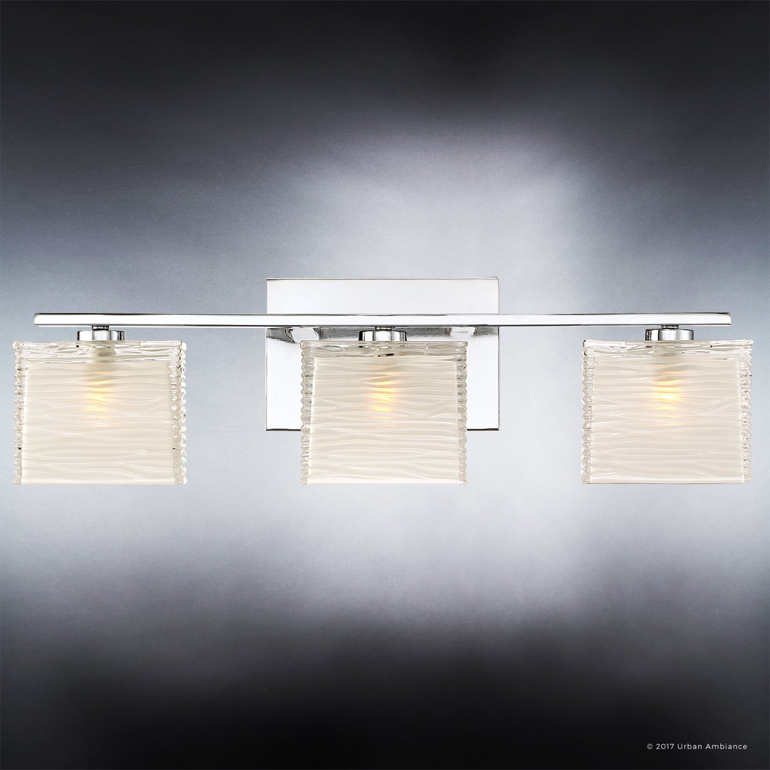 Luxury Modern Bathroom Light, Medium Size: 6.75''H x 22.5''W, with Style Elements, Polished Chrome Finish and Sandblasted Inner, Clear Wavy Outer Glass, G9 LED Technology, UQL2723 by Urban Ambiance by Urban Ambiance (Image #4)