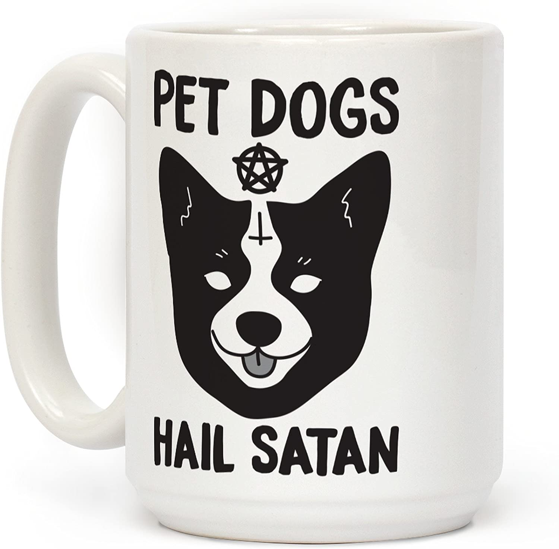 LookHUMAN Pet Dogs Hail Satan Corgi White 15 Ounce Ceramic Coffee Mug