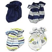 Gerber Baby Boys' 4 Pack Mittens, Safari, 0-3 Months