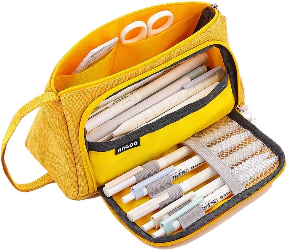 Pencil Case, Big Capacity Storage Bag Pen Pouch Holder Large Storage Stationery Organizer for School Supplies Office College Boys Adult Yellow