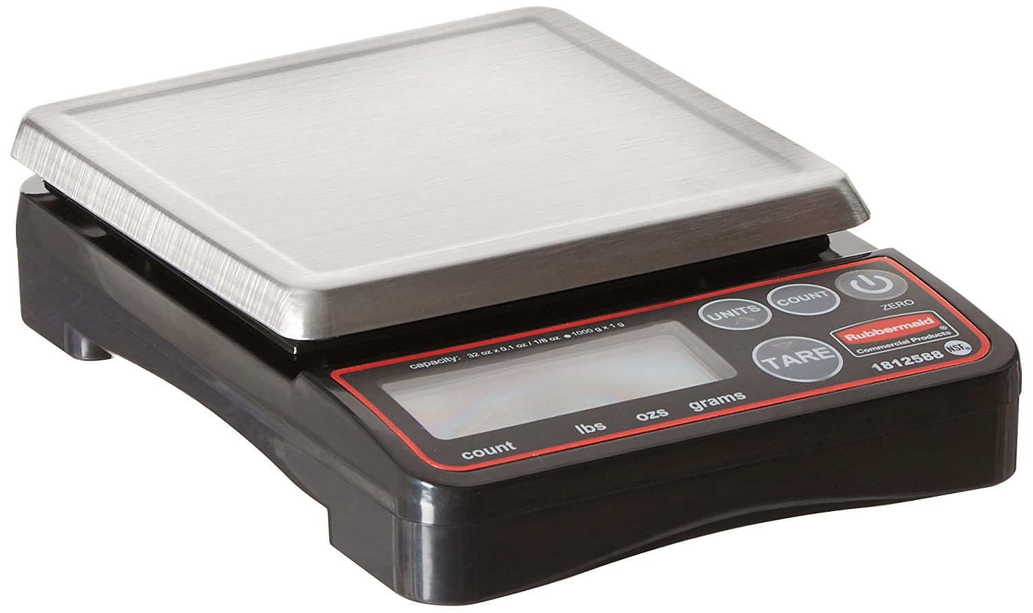Rubbermaid Commercial Products Compact Digital Scale for Foodservice Portion Control, 2 lb. (1812588)