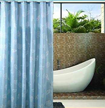 Extra Long Hookless Shower Curtain   80 Inch By 88 Inch, Blue White