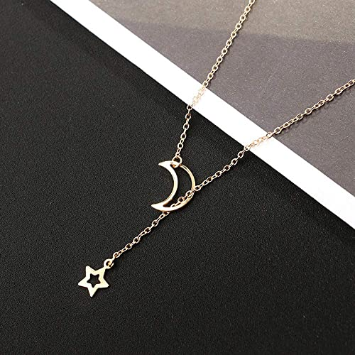 Moon Star Pendant Necklace Choker Necklace Gold Silver Long Chain Jewelry*-*