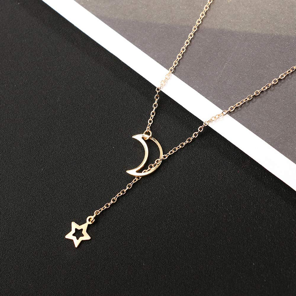 8c4b04e3b324f1 Gbell Women's Girls Star Moon Necklace Pendant Choker Charms,Gold Silver  Simple Long Neck Chain Jewelry Gifts, 31cm+7cm Ideal for  Wedding,Party,Engagement