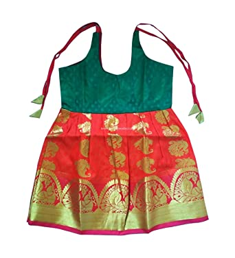 Pure Silk/Pattu New Born Baby Frock Green And Orange U2013 1 Year