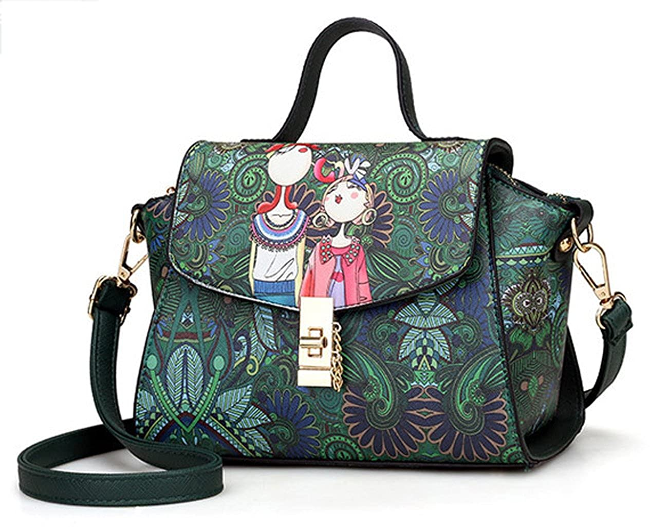 Eilova Forest Printing Crossbody Shoulder Bag Small Purse Fashion PU Handbag