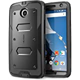 Nexus 6 Case, [Heave Duty]Slim Protection i-Blason Google Nexus 6 Phone Case Armorbox [Dual Layer] Hybrid Full-body Protective Case with Front Cover and Built-in Screen Protector / Impact Resistant Bumpers Cover for Motorola Nexus 6 Phone (Black)