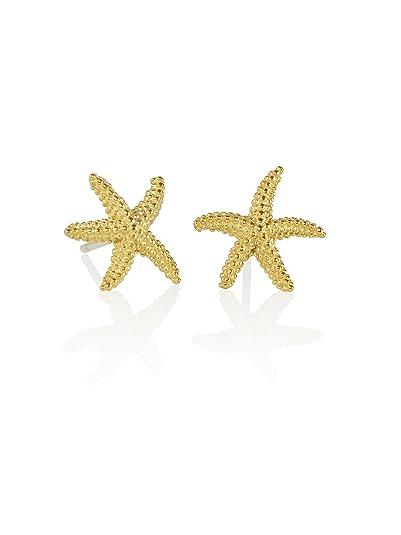 b81c8adb83ef Namana Pendientes de Estrella de Mar. Pendientes con Acabado Cepillado  Chapados en Oro o en
