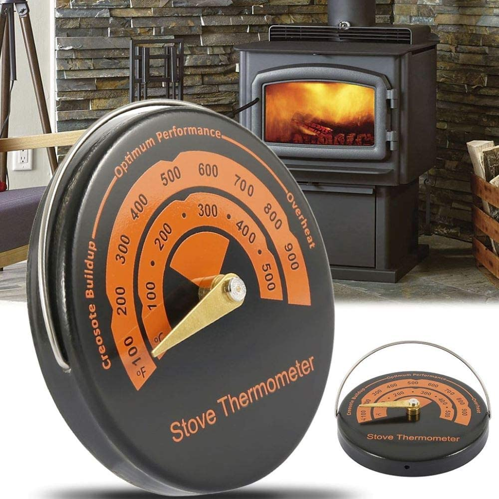 Magnetic Wood Stove Thermometer Heat Powered Temperature Gauge for Log Burning