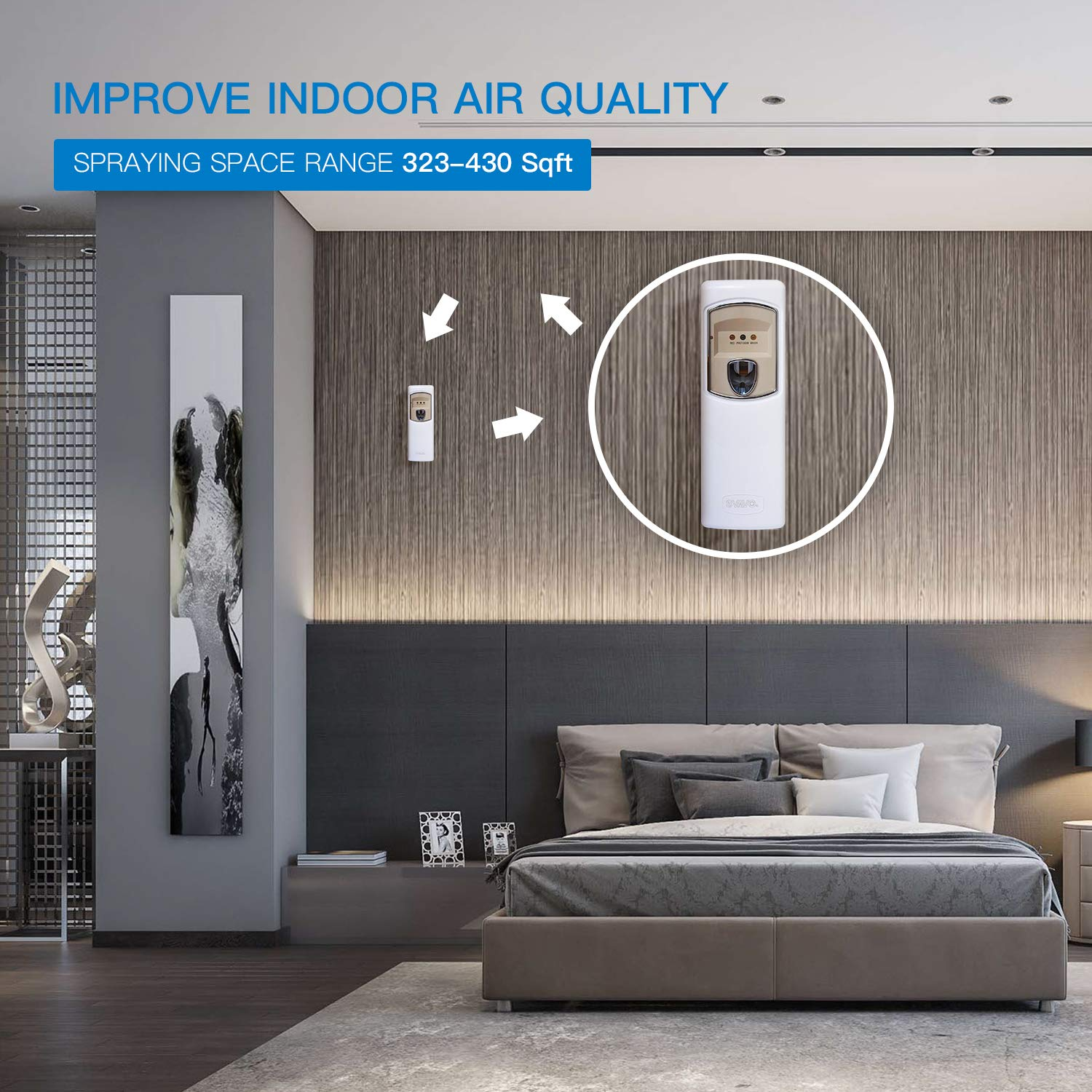 SVAVO Automatic Air Freshener Dispenser - Wall Mounted/Free Standing Auto Aerosol Spray Dispenser Programmable Fragrance Dispenser for Indoor-Bedroom, Hotel, Office, Commercial Place, White by SVAVO (Image #5)