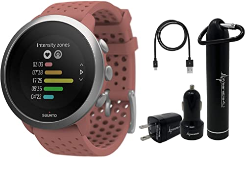 Suunto 3 Fitness Multisport Watch with Heart Rate Monitor and Wearable4U Power Pack Bundle Granite Red