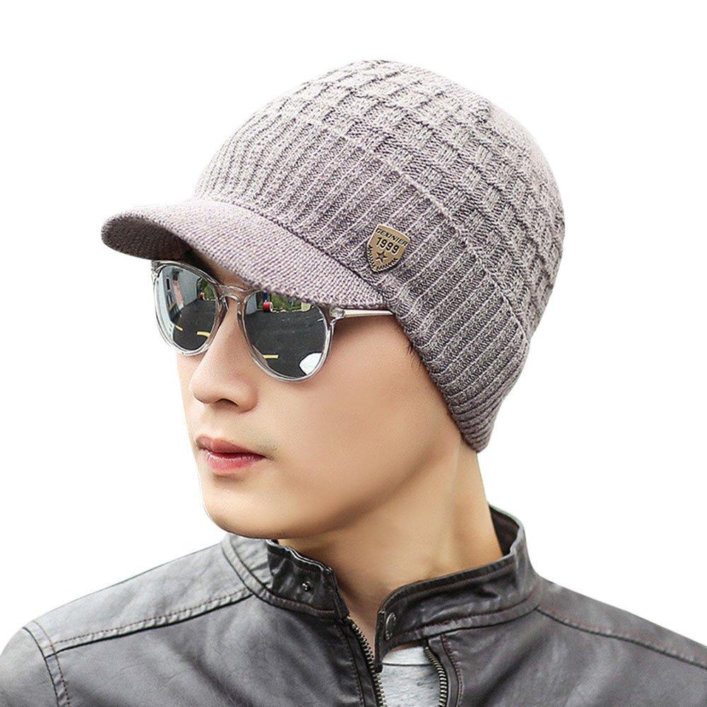 ShenPourtor_Womens Beanie Men Wool Knit Ski Beanie,Winter Baggy Hat Wool Skull Weave Crochet Caps (Khaki)