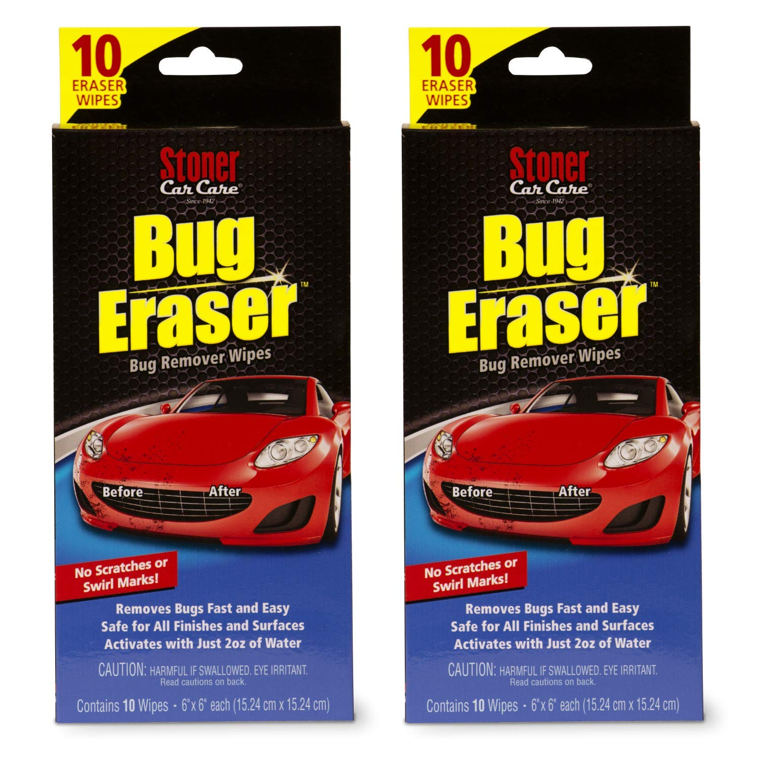 Stoner Car Care 95401 Bug Eraser Car-Cleaning Wipes, Removes Bugs Fast and Easy, Safe for All Automotive Surfaces, 10 Eraser Wipes, Set of 2