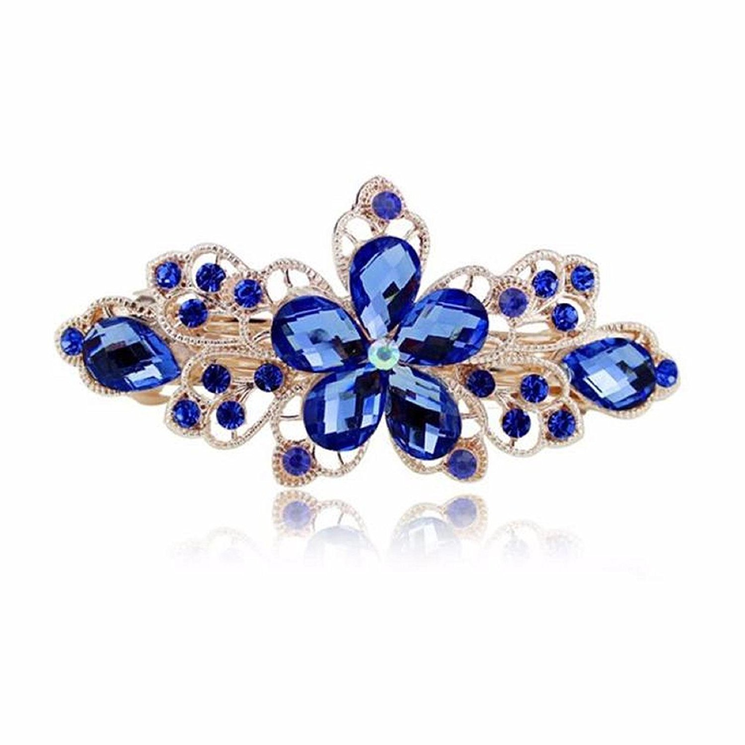 Sankuwen Flower Design Rhinestone Hairpin Clip Accessories (Sky Blue)