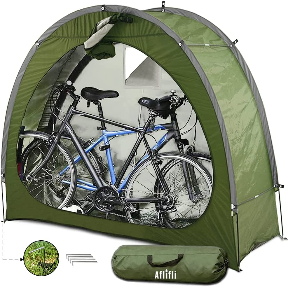 AFLIFLI Sheds & Outdoor Storage for 2 Bikes, Portable Bike Shed Tent w/ Carry Bag, Space Saving for Camping Garden Tool, Waterproof Oxford Protects for All Seasons, Green