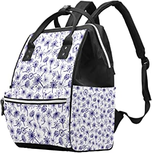 Dark Blue Flower Vintage Plant Diaper Bag Laptop Backpacks Notebook Rucksack Travel Hiking Daypack for Women Men