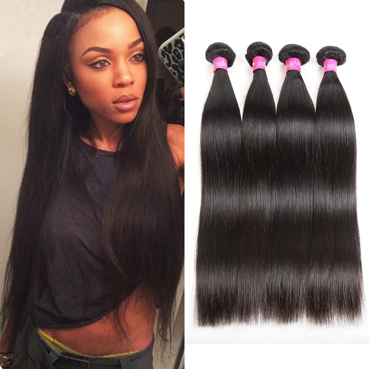 ISEE Hair 8A Malaysian Virgin Straight Hair 4 Bundles 100% Unprocessed Human Hair Weave Bundles Human Hair Extensions 4 Bundles Deal Natural Black 20 20 22 22inches