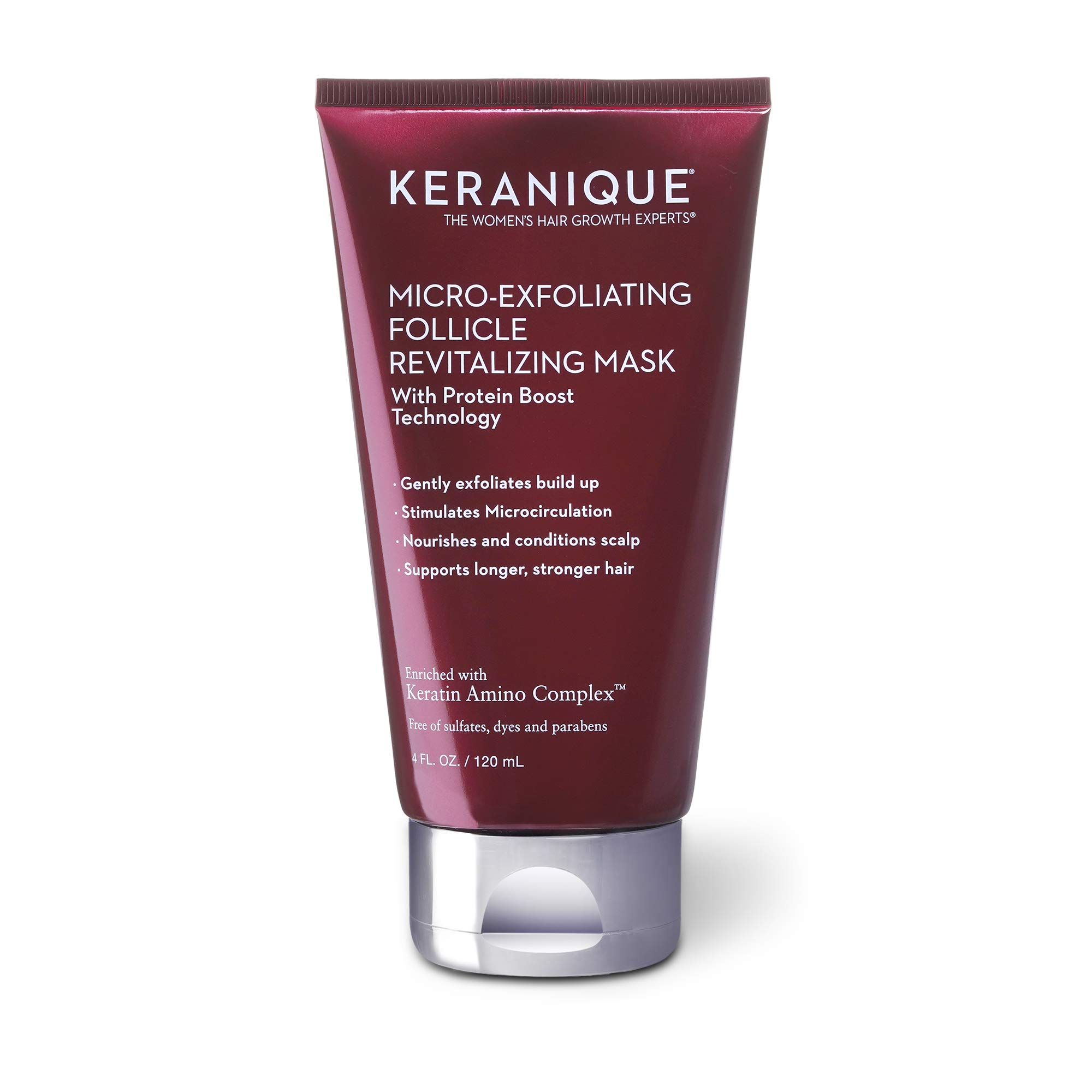 Keranique Micro-Exfoliating Follicle Revitalizing Mask, Keratin Amino Complex, Sulfate, Dyes and Parabens Free, Exfoliates, Nourish and Condition the Scalp, Supports Longer, Stronger Hair, 4 Fl Oz
