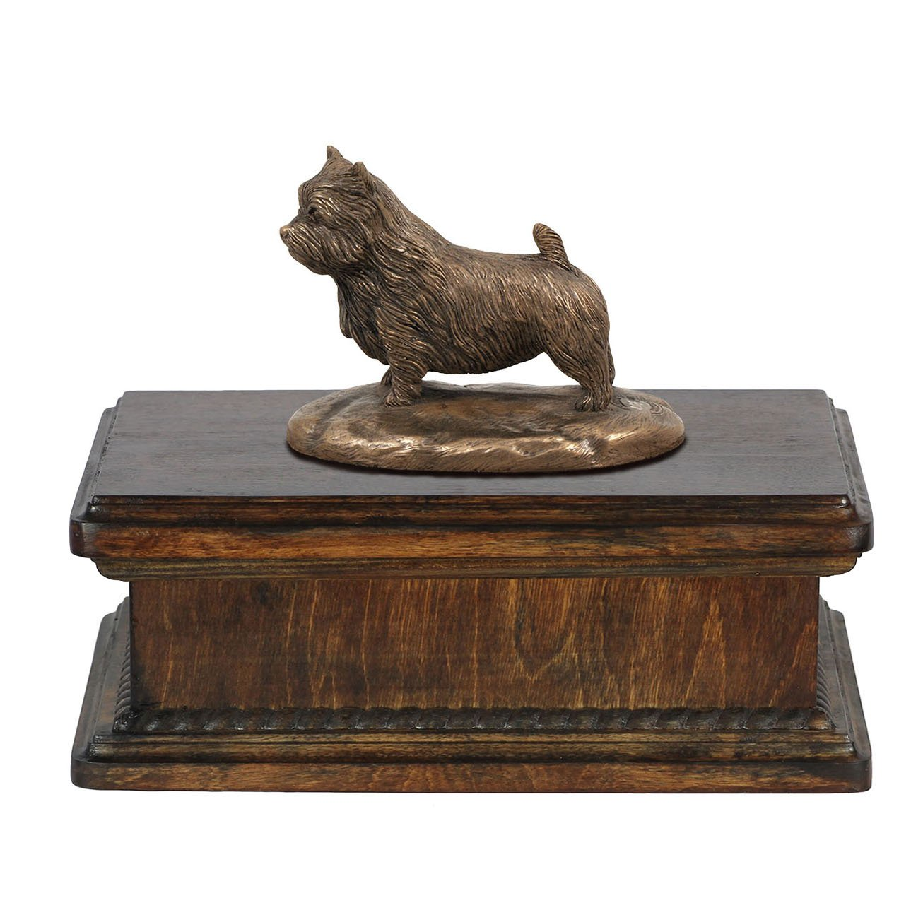Norwich Terrier, memorial, urn for dog's ashes, with dog statue, exclusive, ArtDog