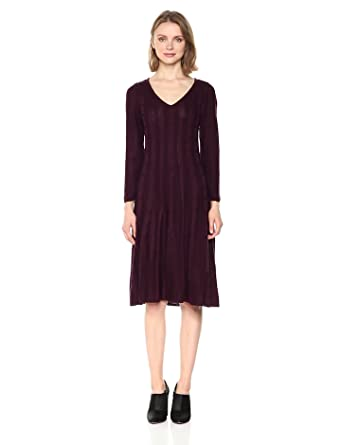 ac59c1ffbd7 Nine West Women s V-Neck Fit  Flare Cable Dress at Amazon Women s ...