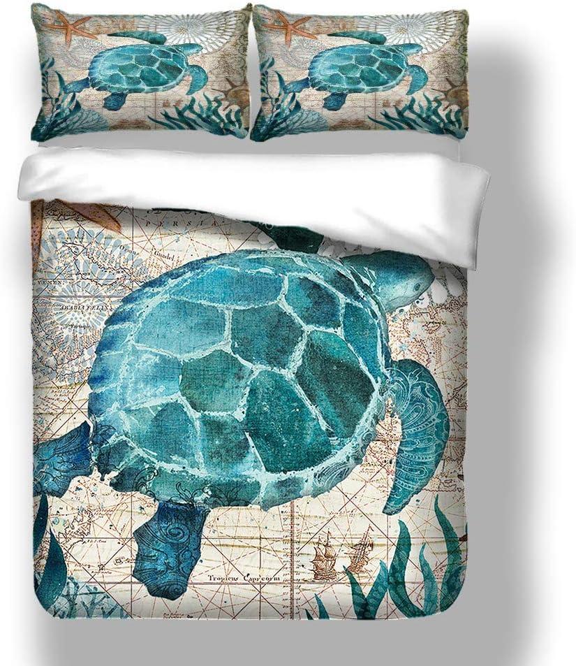 Stillshine Ropa de Cama 90 Azul 3D Océano Animal Tortuga Caballito de mar Ballena delfín Pulpo Calamar Imprimiendo Funda nórdica 180x220 y Funda de ...