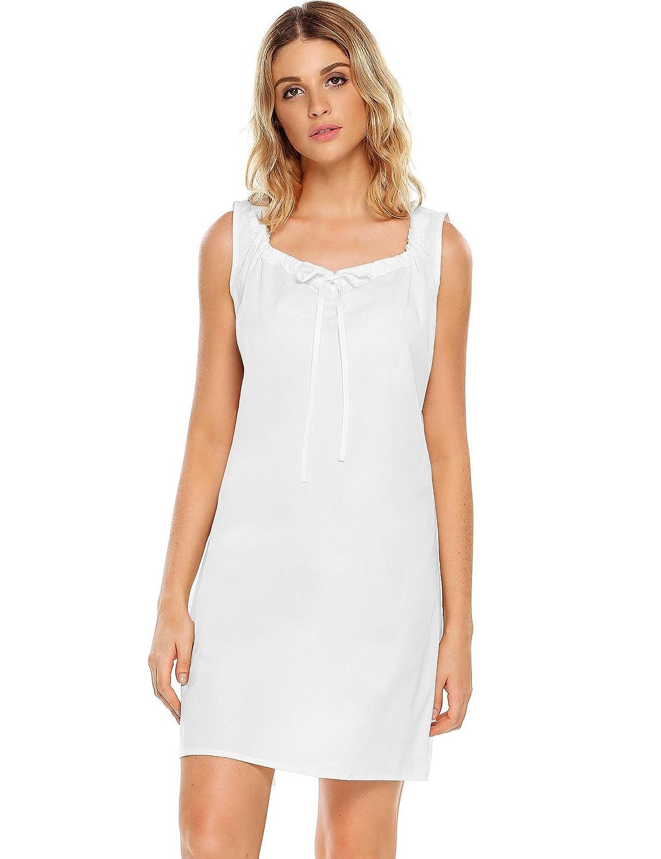 2white Langle Womens Vintage Nightgown Long Nightshirts Ruffles Neck Sleepwear SXXL