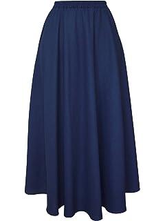 1da72a3a1 ZhuiKun Mujeres Lino Larga Faldas Doble Capa Cintura Elástico ...