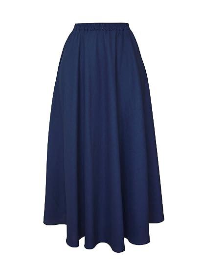 Falda Larga Mujer de Lino Plisado Cintura Elástica Color sólido ...
