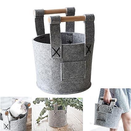 Caja de almacenamiento de fieltro para leña bolsa hecha a mano plegable cesta de almacenamiento de