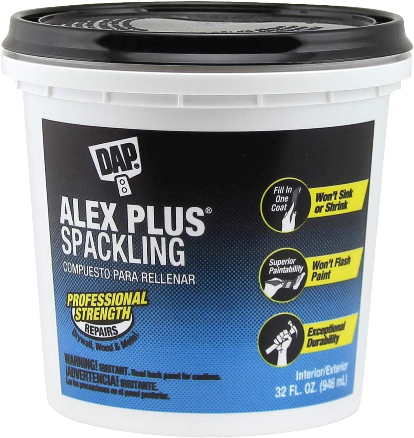 DAP INC 18746 Alex Plus Quart Spackling, 32 oz, White